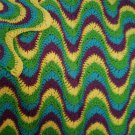 "Afghan Crochet Pattern e PDF File for Multi-Colored, Exaggerated Ripple 54"" x  63"""