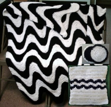 Crochet Pattern e PDF File for 2 Color Exaggerated Ripple Afghan, Pillow & Coasters in 4 sizes