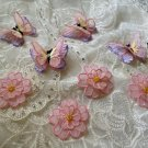 8 pcs DIY Sweet Princess 3D pink flower and purple Butterfly embroidery lace Clothing Stickers