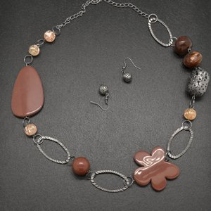 brown and silver flower necklace & earring set