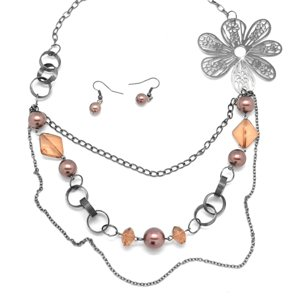 Brown flower necklace and earring set