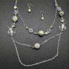 White & silver necklace and earring set