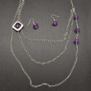 Purple and silver necklace & earring set