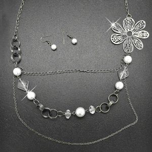 White and silver necklace & earring !!