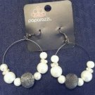 White pearl bead hoop earrings