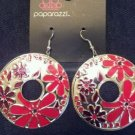 Silver with red flowers disc earrings