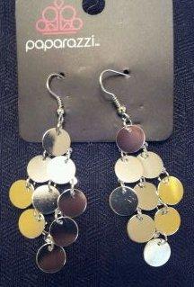 Silver hanging circle earrings