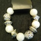 White & silver stretchy bracelet