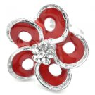 Red & silver flower ring