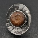 Brown & silver oval ring