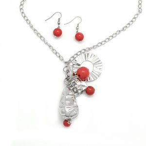 Red and silver necklace & earring set!