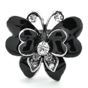 Black butterfly adjustable ring
