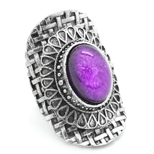Purple & silver oval ring