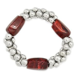 Red and silver stretchy bracelet