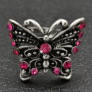 Pink and silver butterfly ring