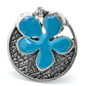 Turquoise and silver flower ring