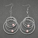 Light pink and silver multi hoop earrings
