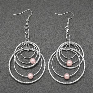 Light pink and silver multi hoop earrings