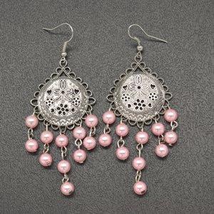 Light pink hanging bead earrings