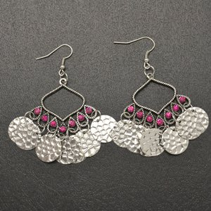 Pink hanging disc earrings
