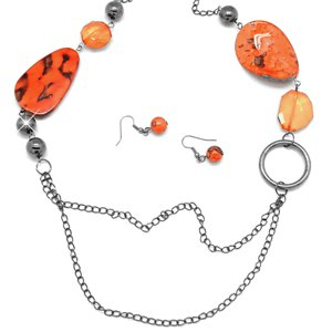 Orange & silver necklace and earring set