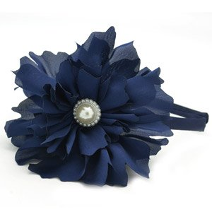 Navy blue flower headband with pearl in the center