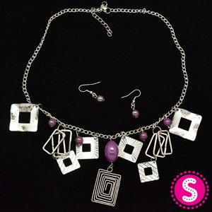 Short purple necklace and earring set