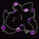 Long purple necklace & earring set