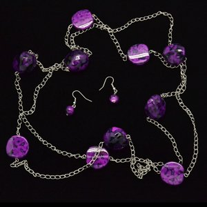 Long purple necklace & earring set