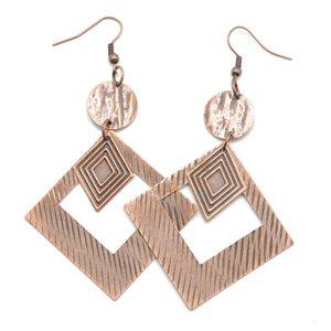 Square copper earrings
