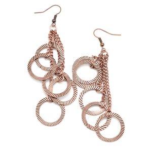 Hanging multi circle copper earrings