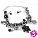 Short Black flower and heart necklace and earring set