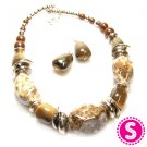 Short chunky necklace and earring set