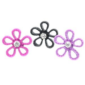 One pair of child size flower earrings - choose color