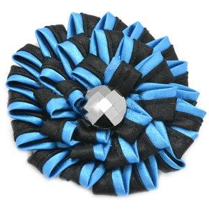 Turquoise and black rhinestone hair clip