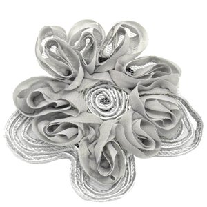 Silver flower hair clip with some mesh