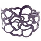 Purple cuff link flower bracelet