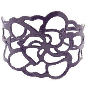 Purple cuff link flower bracelet