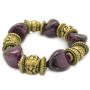 Brass and purple stretchy bracelet