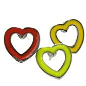 One pair of child's heart outline earrings - choose color