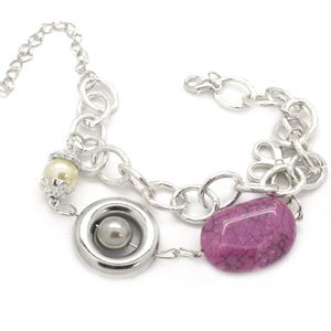 silver with purple stone bracelet