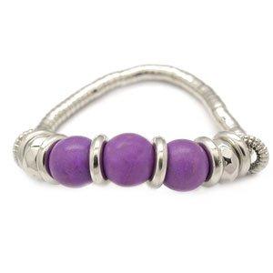 Purple & silver stretchy bracelet