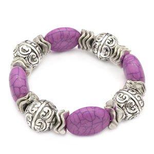 Silver & purple stretchy bracelet