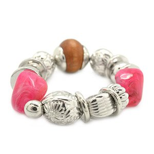 Pink, silver and brown stretchy bracelet