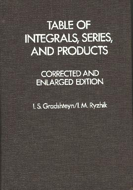 able of Integrals, Series and Products