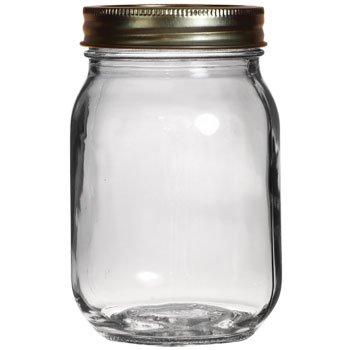 1 x Clear Glass Canning Jars with Metal Lids, 16.9 oz.