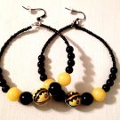 Black Hoops with Black and Yellow Charm