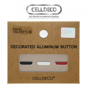 Celldeco Real Aluminum Home Button sticker for Galaxy S3 - Black/White/Red