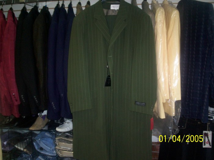 Olive Green Il Canto Suit 3 peice w/gold pinstripes