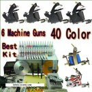 Tattoo Kit 6 New tattoo Machine Guns Power box 50 Needles 40 Inks
